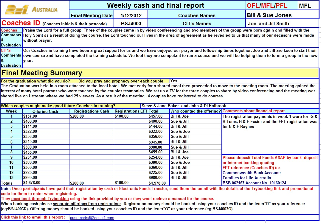 Weekly Cash and Final Report Example | 2=1 - The Combined Ministries ...